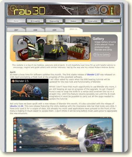 Old Website Layout