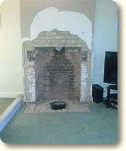 Knocking out fireplace
