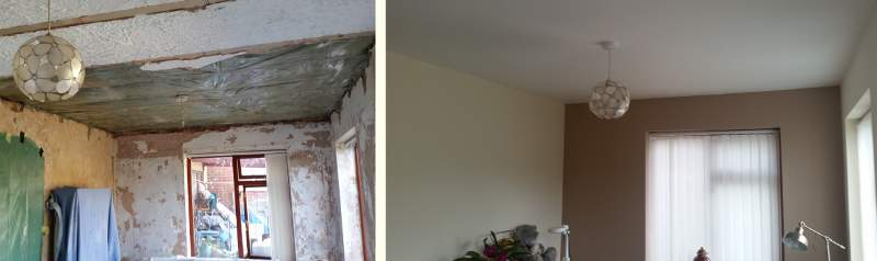 Removing beams and replastering dining room.
